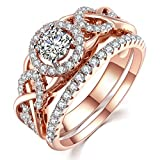 GuqiGuli Twist Shank Rose Gold Plate Sterling Silver Cubic Zirconia Bridal Engagement Wedding Ring Sets Size 5