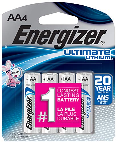 Energizer AA Lithium Batteries, World's Longest Lasting Double A Battery, Ultimate Lithium (4 Count)