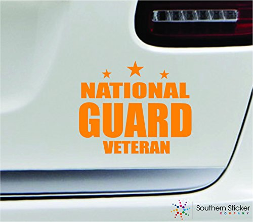 - National guard veteran 5.4x4.4 orange soldier military war veteran america united states color sticker state decal vinyl - Made and Shipped in USA