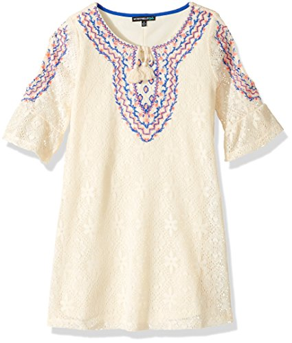 My Michelle Girls' Big Crochet Lace Dress with Embroidered Yoke, Ivory, 7
