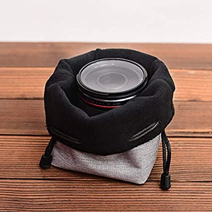 Color : Small Dark Gray Professional Drawstring Camera Bag Insert Pocket Lens Pouch Dust Proof Cover Bag Protector for Camera Nikon Canon DSLR Cameras