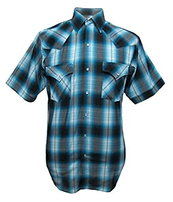 ELY CATTLEMAN Short Sleeve Mens Turquoise Plaid Snap Western Shirt