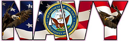 """Navy American Flag Eagle Lettering Magnet Decal 8"""" in size."""