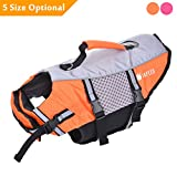 Japeeo Dog Life Jacket Swimming - Puppy Pool Float Vest - Doggie Floatation Lifejacket - Doggy PFD Lifevest Swim Raft - English, French Bulldog Swimsuit Bathing Suit Floaties (Medium, Orange)