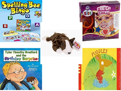 Children's Gift Bundle - Ages 3-5 [5 Piece] - Spelling Bee Bingo Game - Wilton Kids Stretchy Silicone Cookie Cutter Set, 10-Piece - Ty Beanie Baby - Bruno The Dog - Tyler Timothy Bradford and The Bi