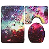 Abstract Wallpapers Pattern 3 Piece Non-Slip Bathroom Rugs Set Living Room Anti-skid Pads Bath Mat + U Shaped Contour Rug + Toilet Lid Cover