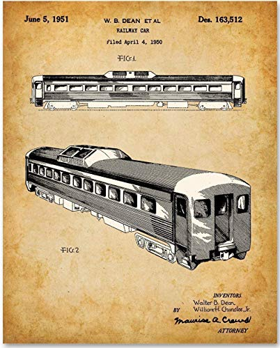 - Passenger Railway Railroad Car - 11x14 Unframed Patent Print - Makes a Great Gift Under $15 for Train Railfans