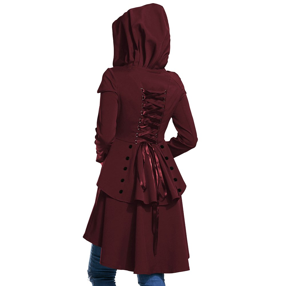 BeautyGal Women's Hooded Coat High Low Hem Lace Up Layered Casual Jacket Coats Wine Red XL
