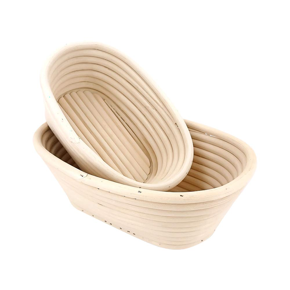 EudoUS 4Pcs Oval Banneton Brotform Bread Baskets with Linen Liners hold 600g Dough Proofing Proving Natural Rattan by EudoUS (Image #6)