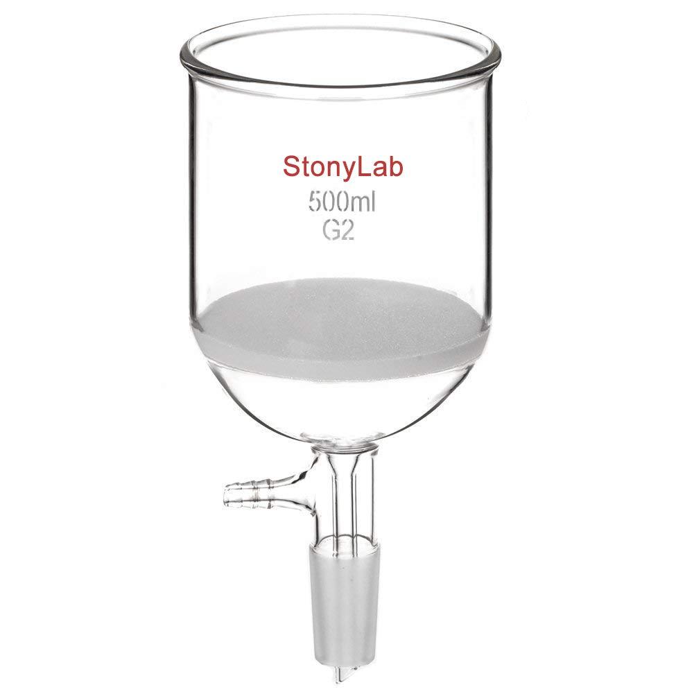 StonyLab Borosilicate Glass Buchner Filtering Funnel 500 mL with Medium Frit, 94mm Inner-Diameter, 100mm Depth, with 24/40 Standard Taper Inner Joint and Vacuum Serrated Tubulation (500 mL) by stonylab
