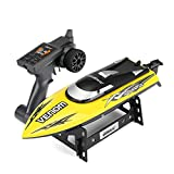 remote control boat gas - E-SCENERY UDI001 2.4GHz High-Speed Remote Control Boats Built-in Water Cooling System and Auto Safe Mode Equipped Technology, RC Racing Boat including Bonus Battery for Pools, Lakes, Outdoor (Yellow)