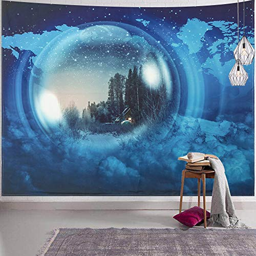 SYNEE Forest Stars Wall Tapestry Psychedelic Tree with House Tapestry Blue Snow Mountain and World Map Tapestry Starry Night Sky Art Decor Wall Hanging for Dorm Living Room Bedroom (L 59.1