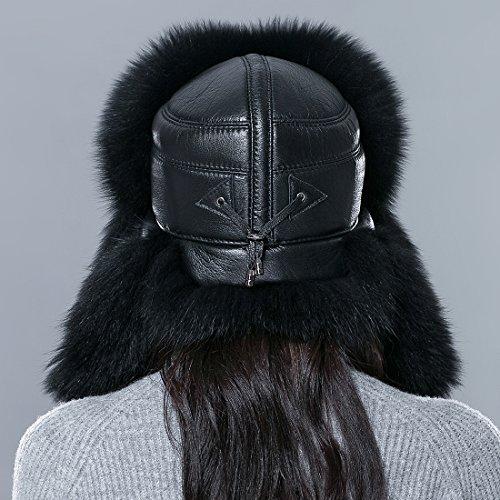 URSFUR femme chapka russe en vrai fourrure et bonnet chapeau cuir chaud hiver Noir S:53-55CM