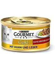 Purina Gourmet Gold Fijne Hapjes, Natvoer voor Katten, Kip en Lever, 12 Blikjes (12 x 85 g)