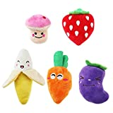 #9: UEETEK Squeaky Dog Toys for Small Dogs Fruits and Vegetables Plush Puppy Dog Toys (A pack of 5)