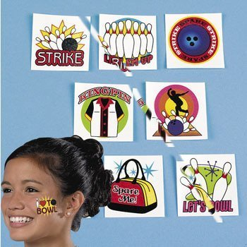 Bowling Party Favors (Bowling Tattoos - Pack of 72)