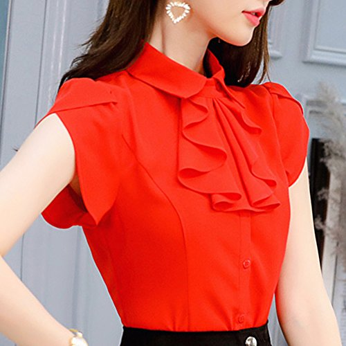 Travailler Anyu Mousseline Femme Tops Rouge Blouse Revers Professionnel WfHfBtrO