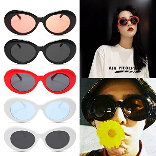 SCASTOE Lady Fashion Vintage Sunglasses Round Frame Cat Eye Oversized UV protection Sunglasses White Frame, Blue Lens