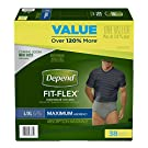Depend FIT-FLEX Incontinence Underwear for Men, Maximum Absorbency, L/XL, Gray (Packaging may vary)