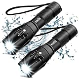 Tactical Flashlight, Wowlite Ultra Bright XML T6 LED Torch with 5 Light Modes & Adjustable Focus for Emergency Camping (2 Pack)