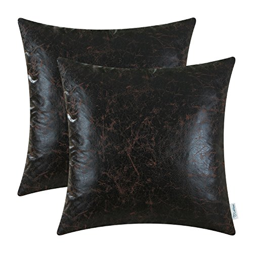 Charmant Pack Of 2 CaliTime Soft Throw Pillow Covers Cases For Couch Sofa Bed,  Modern Imitation Leather, 18 X 18 Inches, Black Coffee