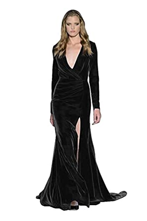 CCBubble Velvet Mermaid Prom Dresses Long Sleeves V-Neck Evening DressesBlack-US2