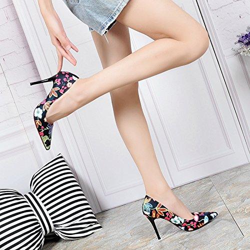 KHSKX-Herbst - Mode Hochhackige Schuhe Kinder Neue Mode Nationale Wind Bestickt Einzelne Schuhe Spitz Und Dünnen Mund Mit Damenschuhe black