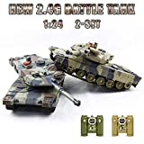 RC Fighting Battle Tank 1:24,Set of 2 ,Remote Control Battling Tank Toys for Kids