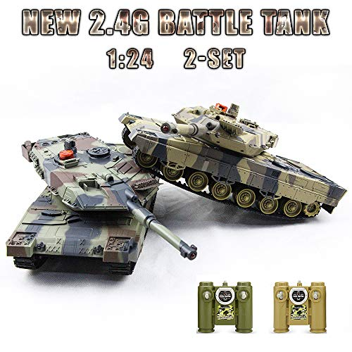 RC Fighting Battle Tank 1:24,Set of 2 ,Remote Control Battling Tank Toys for ()