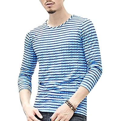 Wholesale ONTBYB Mens Basic Stripe Crewneck Long Sleeve Slim Fit Pullover Blouse Top