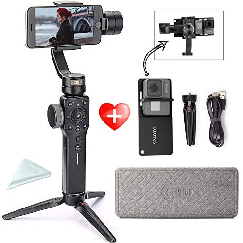 Zhiyun Smooth 4(with Tripod + Adapter) 3-Axis Handheld Gimbal Stabilizer Newly Implanted with Focal Handwheels for GoPro Hero 6/5/4 iPhone 8/7/7 Plus/6/6s/Samsung Galaxy S9 S9+ S8