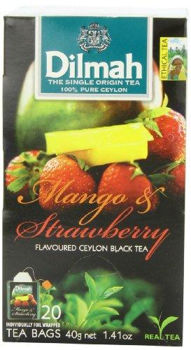 Ceylon Teas Strawberry Tea - Dilmah Fun Teas,Mango and Strawberry, 20 Teabags, 1.41-Ounce Boxes, (Pack of 6)