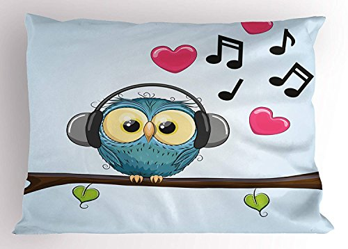 K0k2t0 Music Pillow Sham by, Cute Cartoon Owl with Headphones Hearts Leaves Fashion Playful Fun, Decorative Standard Queen Size Printed Pillowcase, 30 X 20 Inches, Baby Blue Teal Pink Brown -