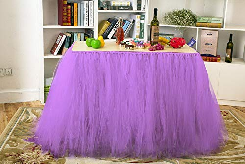 Gatton Tutu Table Skirt Purple Tulle Tablecloth 6FT Birthday ding Party Decoration Shower Home Decor Tableware Cover Cloth for Rectangle or Round Tables 31×36 inch (Purple) | Model WDDNG - 1934 |