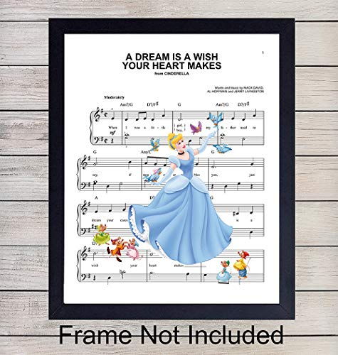 Cinderella Sheet Music - Wall Art Print - Ready to Frame (8X10) Photo - Perfect Gift For Baby Girl Room, Nursery, Disney World Fans - Disneyworld - Great For Home Decor ()