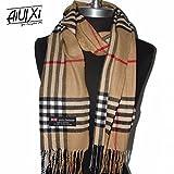 AiUIXi1991 Fashion 100% Cashmere Scarf Camel C Plaid Scotland Wool Wrap - Plaids & Checks