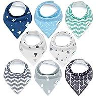 Baby Bandana Drool Bibs, Unisex 8-Pack Gift Set for...