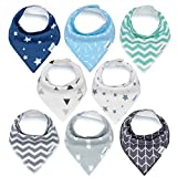 Baby : Baby Bandana Drool Bibs, Unisex 8-Pack Gift Set for Drooling and Teething, 100% Organic Cotton, Soft and Absorbent, Hypoallergenic - for Boys and Girls by KiddyStar