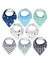 Baby Bandana Drool Bibs, Unisex 8-Pack Gift Set for Drooling and Teething, 100% Organic Cotton, Soft and Absorbent, Hypoallergenic - for Boys and Girls by KiddyStar BOBEBE Online Baby Store From New York to Miami and Los Angeles