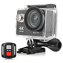 KuGi Ultra HD 4K Sport Action Camera WIFI 1080P 60fps HDMI 20MP+170 Degree Wide Viewing Angle 2.0 inch LCD Screen Waterproof Sport DV Camcorder with Accessories Kit for Extreme Outdoor Sports(Black)