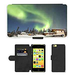 Hot Style Cell Phone Card Slot PU Leather Wallet Case // M00170160 Aurora Alaska House Snow Borealis // Apple iPhone 5C