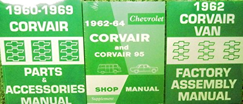 3pc SET 1962 1963 1964 CORVAIR REPAIR SHOP & SERVICE MANUAL, 1962 ASSEMBLY MANUAL & 1960 - 1969 FACTORY PARTS & ACCESSORIES MANUAL (Corvair Repair Manual)