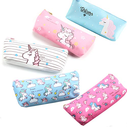 Cuppqq 5 pcs Unicorn Pen Pencil Case Cute Unicorn Pen Box Pouch Holder for Girls Kids Boys Teens (5 Pack) -
