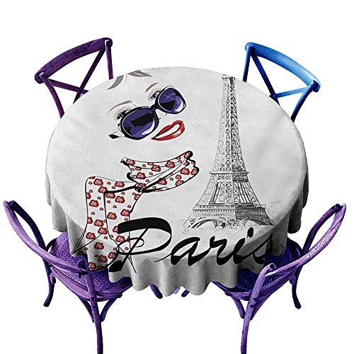 Zodel Water Resistant Table Cloth,Paris Sketchy Image of a Woman Smiling with Scarf and Landmark Eiffel Tower,Resistant/Spill-Proof/Waterproof Table Cover,60 INCH,Dark Blue Black and White
