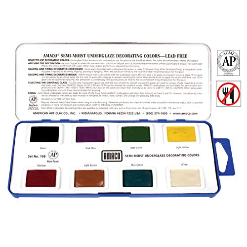 AMACO Non-Toxic Semi-Moist Underglaze Set - A in Pan, 1.5 oz, Assorted Color, 8 - Stain Mason Green