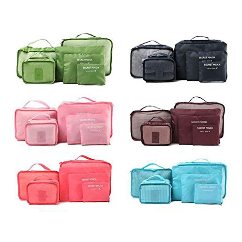 Pcs Blue Bag Storage Clothes Bucket Pink Packing Dxlta Travel Portable Green 6 Essential p5SW05