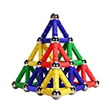 magnet building kits - Veatree 107 Pieces Puzzle Magnetic Building Blocks Toys Magnet Construction Build Kit Education Toys for Kids Playing Stacking Game with Magnetic Bricks and Sticks