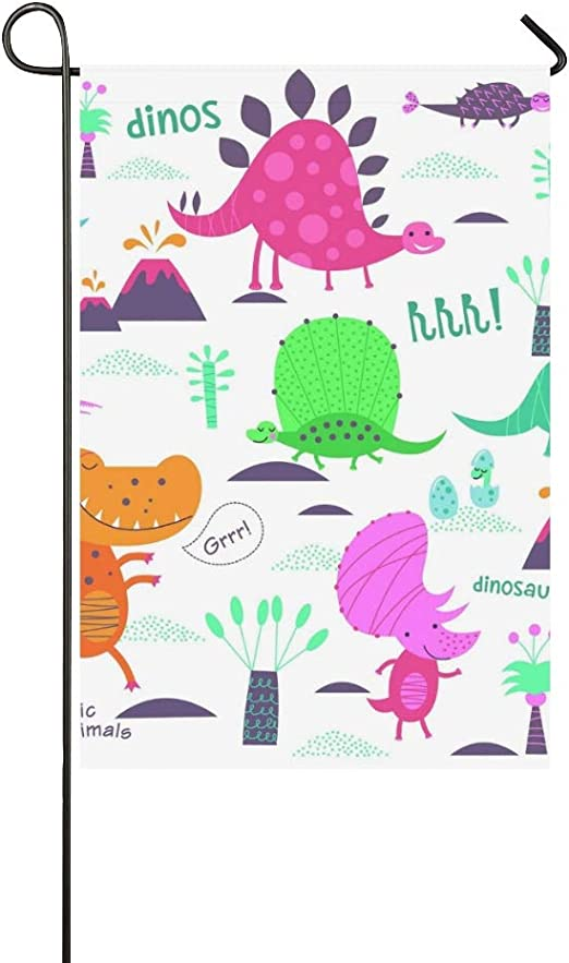Inicio Decorativo Exterior Doble cara Lindo Dinosaurio Jurásico Animales Jardín Bandera casa Bandera de jardín jardín Decoraciones de jardín Bandera de temporada de bienvenida al aire libre Regalo: Amazon.es: Jardín