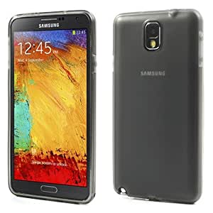 JUJEO Frosted TPU Gel Cover with Dust Proof Plug for Samsung Galaxy Note 3 N9000 N9005 N9002 - Non - Retail Packaging - Grey