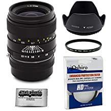 Oshiro 35mm f/2 LD UNC AL Wide Angle Full Frame Prime Lens with Hood, UV, Microfiber for Fuji X-Pro1, X-T1, X-E2, X-E1, X-M1, X-A2, and X-A1 FX Digital Mirrorless Cameras (EOS-FX)